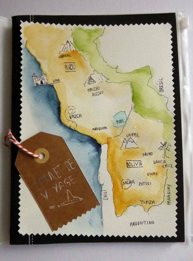 dessin aquarelle de carte de voyage